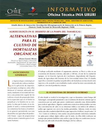 alternativas para el cultivo de hortalizas orgánicas - Platina - INIA