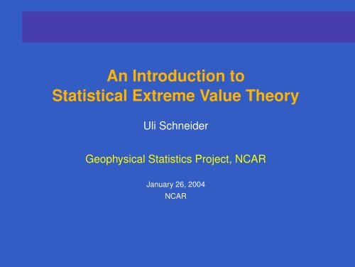 An Introduction to Statistical Extreme Value Theory - IMAGe
