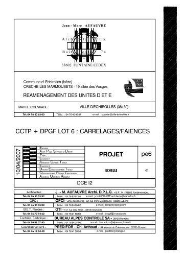 CCTP et DGPF du lot 6 PDF - Echirolles