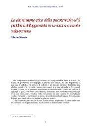 La dimensione etica della psicoterapia ed il problema dell ... - ACP