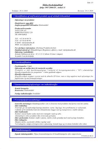 Sikkerhedsdatablad - Dana Lim A/S