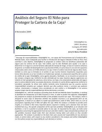Análisis del Seguro El Niño para Proteger la Cartera de la Caja1