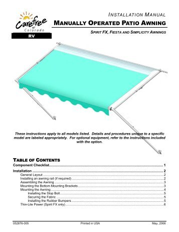 Patio Awning Installation Manual