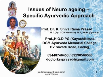 Issues of Neuro ageing – Specific Ayurvedic ... - Techno Ayurveda