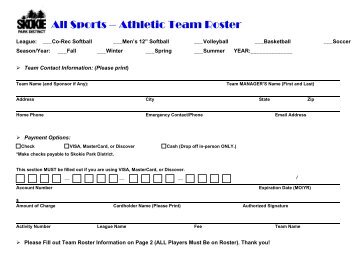 All Sports – Athletic Team Roster - Skokie Park District