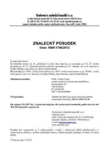 ZNALECKÝ POSUDEK číslo: 5600-1746/2012 - OKdrazby.cz