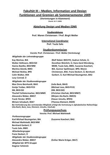 Fakultät III – Medien, Information und Design Funktionen und ...