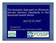 The Systemic Approach to Minimum Service Delivery Standards in ...