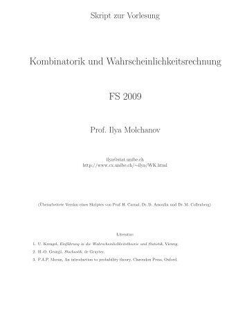 Kombinatorik und Wahrscheinlichkeitsrechnung FS 2009