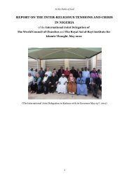 report on the inter-religious tensions and crisis in nigeria - The Royal ...