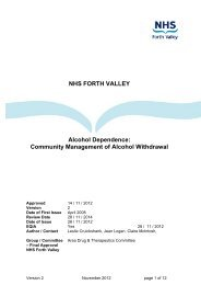 Community Management of Alcohol Withdrawal - NHS Forth Valley