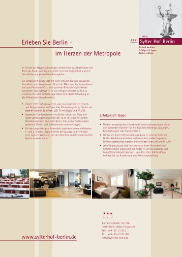 Bankettmappe - Hotel Sylter Hof Berlin