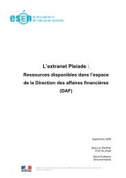Les ressources Pleiade extranet DAF - Esen