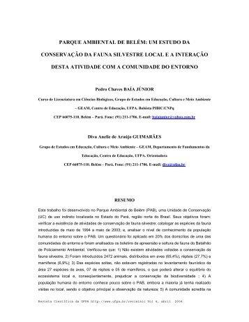 parque ambiental de belém: um estudo da conservação da fauna ...