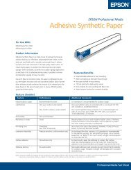 Adhesive Synthetic Paper Fact Sheet - Epson