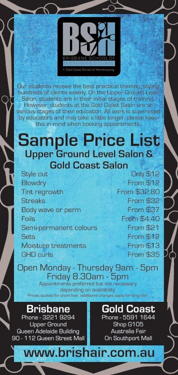 Sample Price List