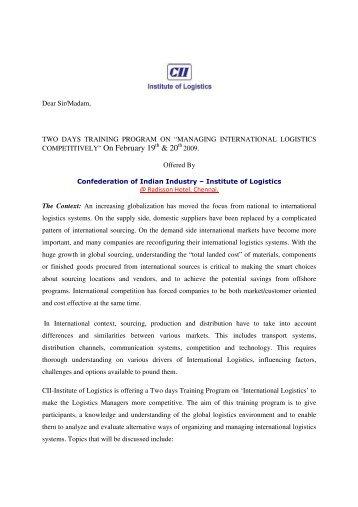 & 20 - CII Institute of Logistics