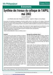 Synthèse des travaux du colloque de l'AIPU, mai 2002 - Pédagogie ...
