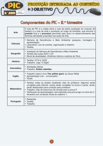 Componentes da PIC – 2.o bimestre - Colégio OBJETIVO
