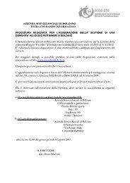 Estratto Bando Informativo - Betrieb für Sozialdienste Bozen