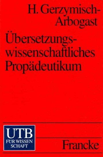 Übersetzungswissenschaftliches Propädeutikum - Translation ...