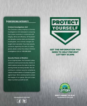 get the information you need to help prevent ... - Colorado Lottery