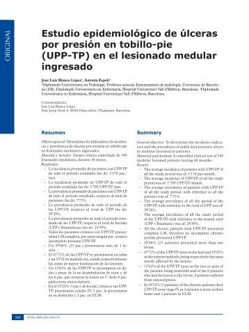 Estudio epidemiológico de úlceras por presión en tobillo-pie (UPP ...