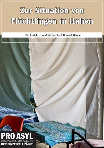 """Bericht """"Zur Situation von Flüchtlingen in Italien"""" - Pro Asyl"""