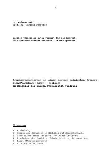 Fremdsprachenlernen in einer deutsch-polnischen Grenzregion