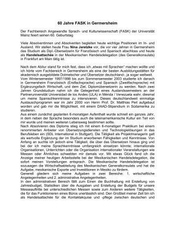 60 Jahre FASK in Germersheim - Fachbereich Translations-, Sprach ...