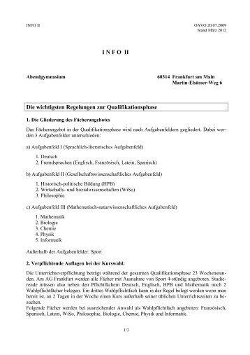 I N F 0 II - Abendgymnasium Frankfurt am Main