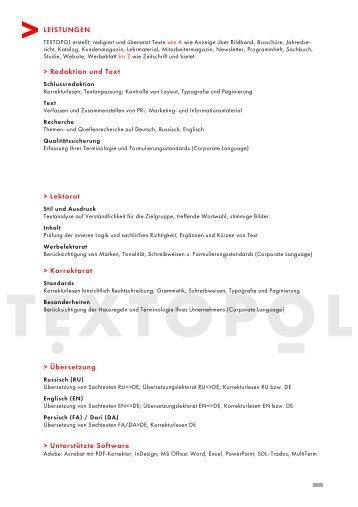 Kurzprofil als Druckversion - TEXTOPOL