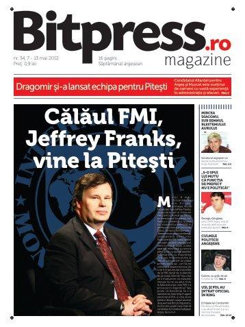 Calaul FMI, Jeffrey Franks, vine la Pitesti - BitPress.ro