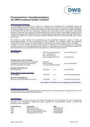 DWS Preis- und Leistungsverzeichnis Stand - Fonds for Less