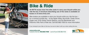 MVTA buses have free bike racks to carry your bicycle while you ride ...
