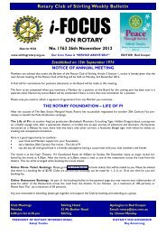 Bulletin 1762 - Rotary Club of Stirling
