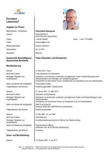 lebenslauf amsycora orecchioni bewerbungsmuster gratis vorlage fr - Vorlage F R Lebenslauf