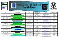 Calendrier 2009/2010 Breizh Ligue
