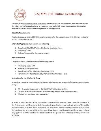 CSJMM Full Tuition Scholarship Application Form