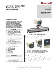 VersaFlow Coriolis 1000 Mass Flow Sensor Specification - Honeywell