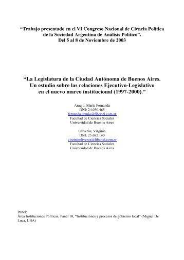 Legislatura de la Ciudad Autónoma de Buenos Aires. - Sociedad ...