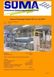 liegende Plattensäge Fabrikat SELCO, Typ EB 95