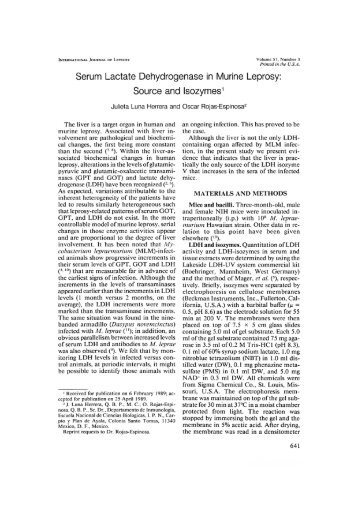 Serum Lactate Dehydrogenase in Murine Leprosy: Source and ...