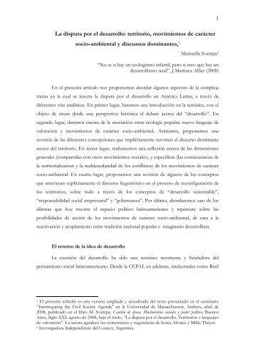 La disputa por el desarrollo: territorio, movimientos ... - Extractivismo