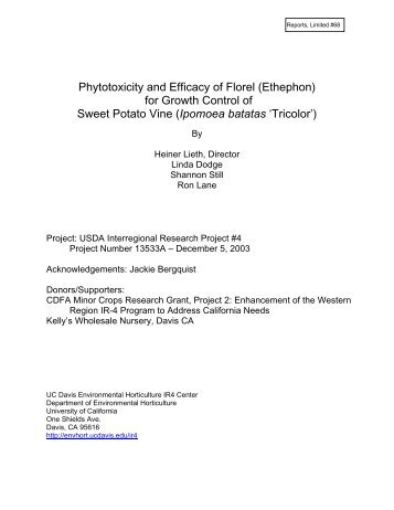 Phytotoxicity and Efficacy of Florel (Ethephon) for ... - Heiner Lieth