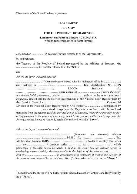 The Share Purchase Agreement - Łambinowicka Fabryka Maszyn ...