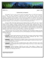 Sarbanes-Oxley Act Summary - Vinson & Elkins LLP