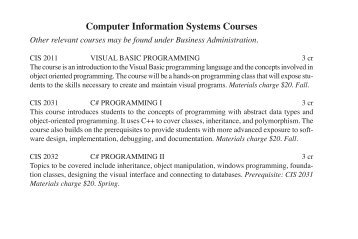 CIS Course Listing as PDF - Castleton State College