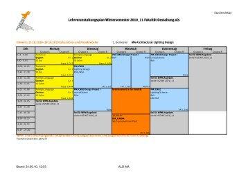 Lehrveranstaltungsplan Wintersemester 2010_11 Fakultät Gestaltung