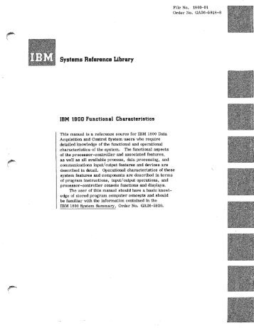 Systems Reference Library - All about the IBM 1130 Computing ...